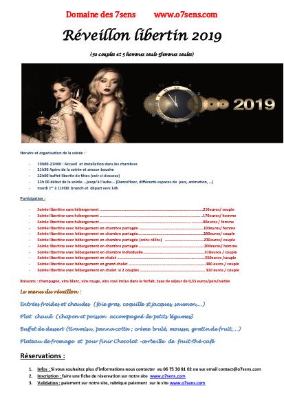soirée privée, reveillon libertin 2019
